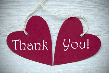 Two Red Hearts With Thank You