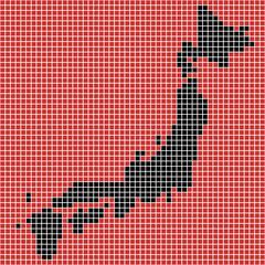 日本地図のピクセルアート(危険イメージ)