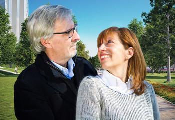 Happy senior couple in love. Park outdoors