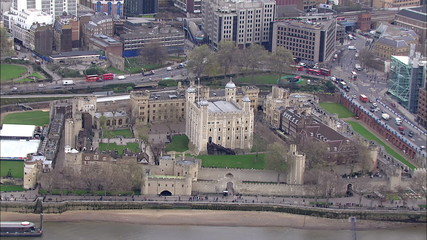 Aerial view of the infamous Tower of London beside the river Thames