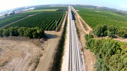 train crossing the countryside. Israel