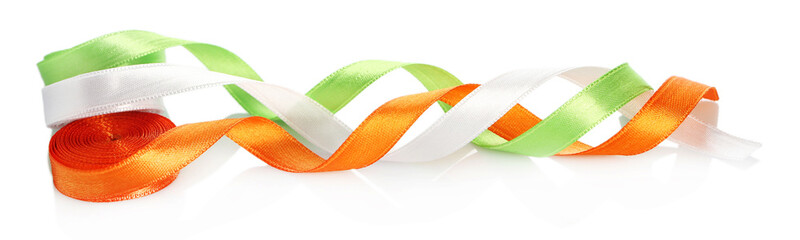 bright silk ribbons isolated on white
