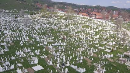 Aerial view of big Muslim graveyard in Serbia.