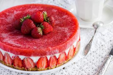 homemade cheesecake with fresh strawberry