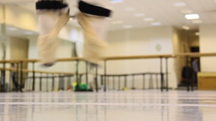 ballet dancers exercise, jump feet