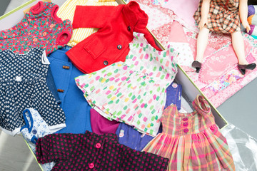 several doll clothes