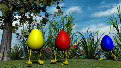 Easter Eggs with Legs in the meadow