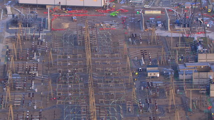 Aerial view of a large scale construction site with no people
