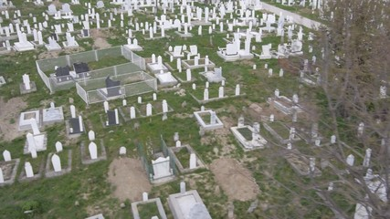 Aerial view of big Muslim graveyard in Serbia.