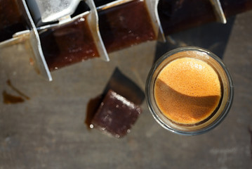 espresso with ice cubes coffee