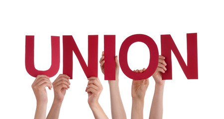 Many People Hands Holding Red Straight Word Union