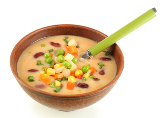 Bean soup in bowl isolated on white