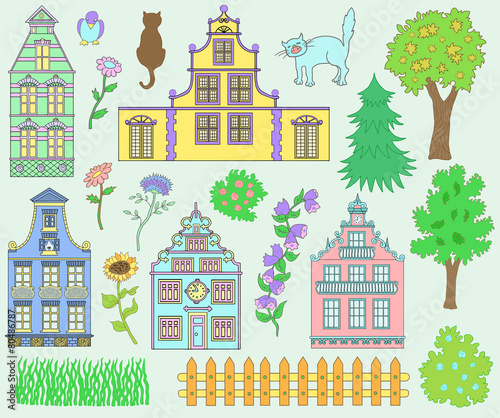 Design set with houses, pets and nature details © samiramay