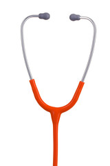 Orange stethoscope headset closeup isolated on white background