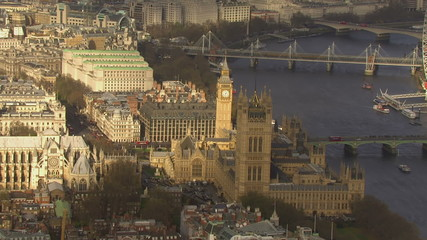 Aerial view of the city of Westminster in London