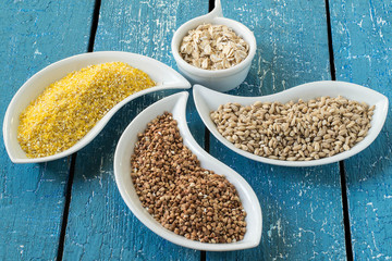 Corn, buckwheat, barley, oatmeal