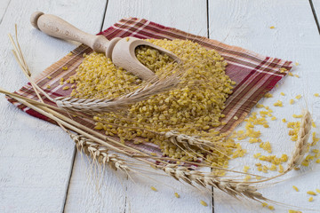 Bulgur and wheat ears