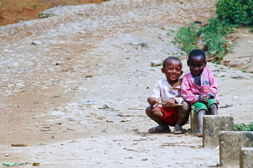 Happy poor african boys - malagasy children
