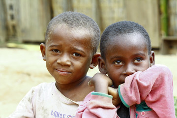 Happy poor african boys - malagasy children