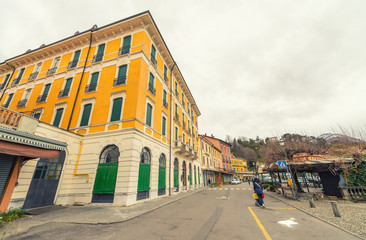 BELLAGIO, ITALY - MARCH 4, 2015: City streets on a winter day. B