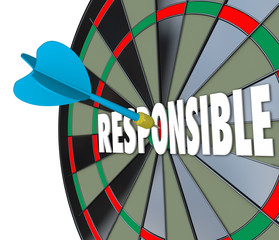 Responsible Word Dart Board Accountable Reliable Meet Obligation