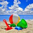 Baby Toys on beach sand - 80489902