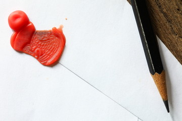 Classic envelope seal wax stamped