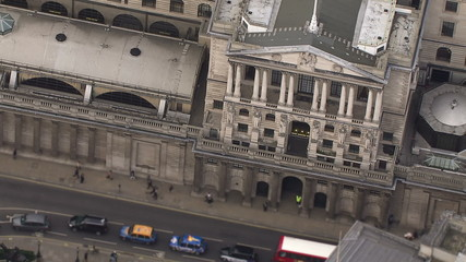 Aerial view above the Bank of England, London, UK