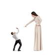 woman screaming at startled man