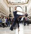 Elegant classical dancer performing in the city