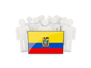 People with flag of ecuador