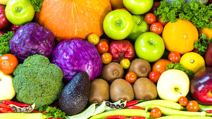 Group of Fruits and vegetables organics
