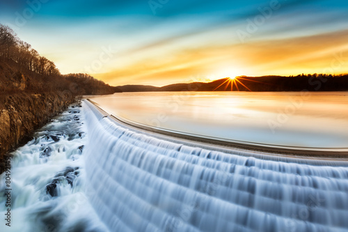 Wall Murals Waterfalls Sunrise over Croton Dam, NY