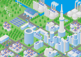 Port city and Logistics illustration