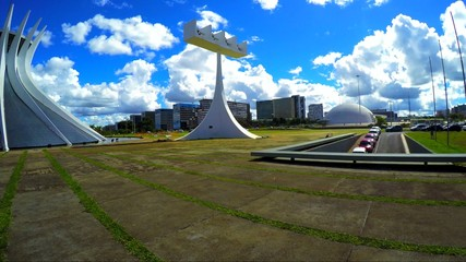View of Cathedral of Brasilia, in the city capital of Brazil