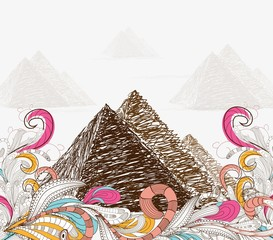 Egypt - hand drawn. pyramids doodle