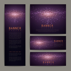 gorgeous glitter banner design set