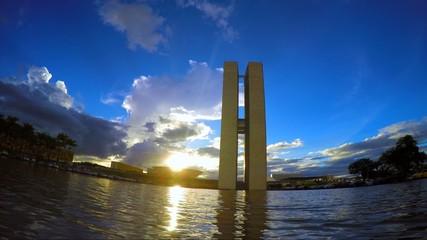 Sunset of the National Congress of Brazil in Brasilia