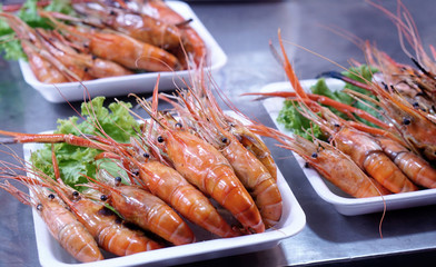 grilled large river prawn in the street food stall in Thailand
