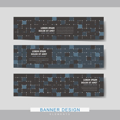 dark blue mosaic banner template design