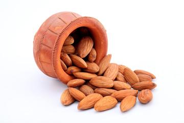 Almonds in a earthen pot