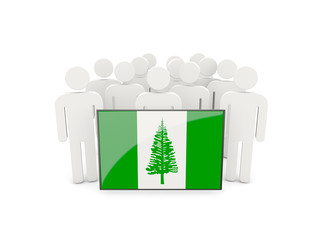 People with flag of norfolk island