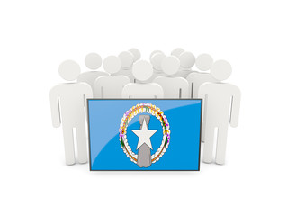 People with flag of northern mariana islands
