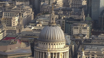 Aerial view above St. Paul's Cathedral in London