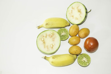 Fruits and vegetables with white background.