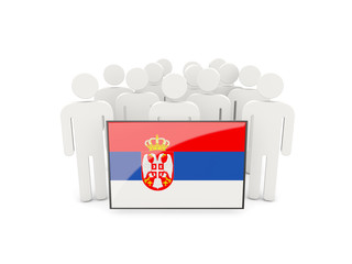 People with flag of serbia