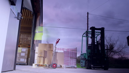 Time-lapse clip with warehouse workers loading pallets and moving them around