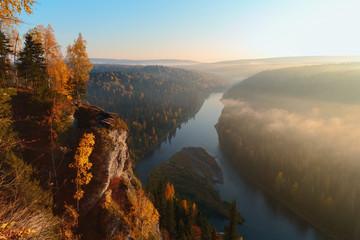 fog over the river. landscape monument nature