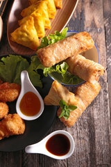 spring roll,samosa and fried shrimp