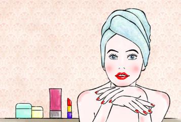 化粧する女性A